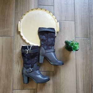 Bamboo Faux Suede heeled buckle ankle boots bootie